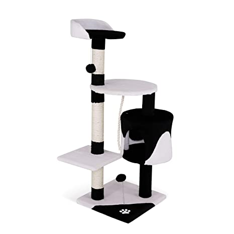 Dibea - Poste rascador para árbol de Gatos, 112 cm, Color Negro y Blanco