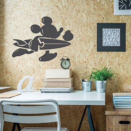 Mickey Mouse Wall Decal Surfer - Disney Wall Decal - Vinyl Decor for Bedroom or (Go Industries Black Powder)