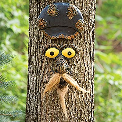 Bits and Pieces - Mustache Man Tree Face Yard Art - Outdoor Tree Hugger Sculpture Garden Decoration - Funny Tree Statue