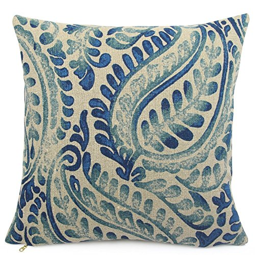 Chloe & Olive Blue Paisley French Country Relaxed Linen Throw Toss Pillow - Custom 18