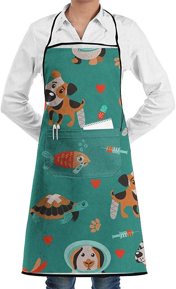 alice-shop Cute Sick Animals Perros, Gatos, Tortugas, hámster Delantal Divertido para Hornear Novedad Cooking Chef Gift para Hombres y ndash