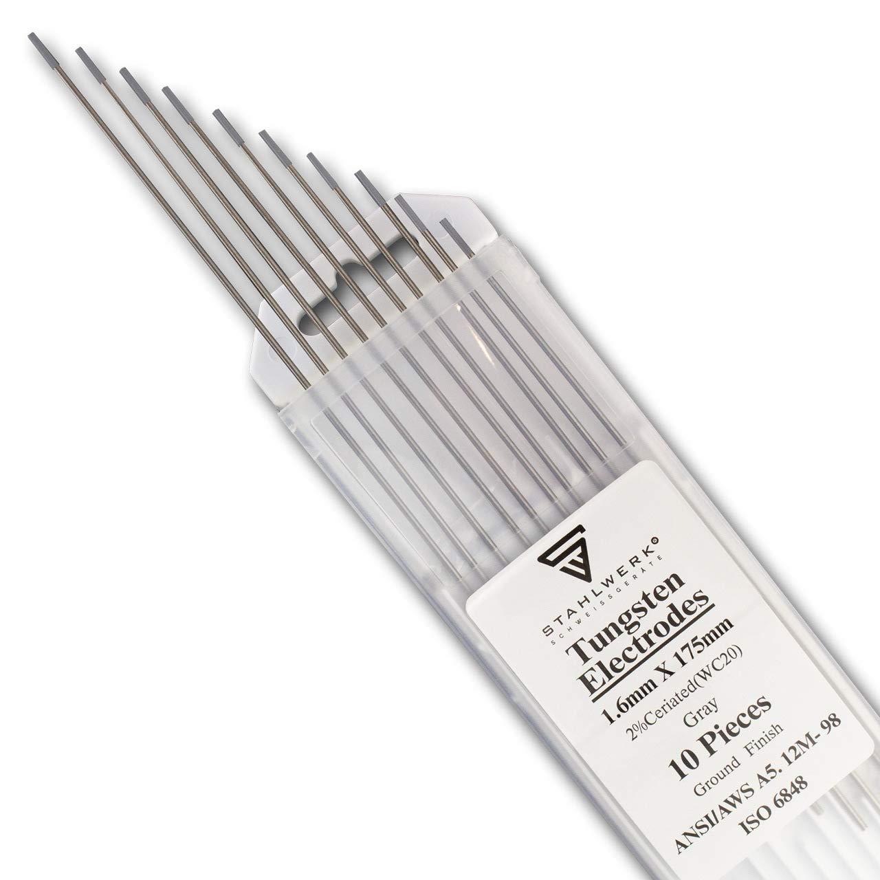 cuivre aluminium Lot de 10 /électrodes de soudage en tungst/ène sans tungst/ène 1,6 x 175 mm WC20 sans Thorium gris Aiguilles universelles WIG pour acier inoxydable 10 pi/èces