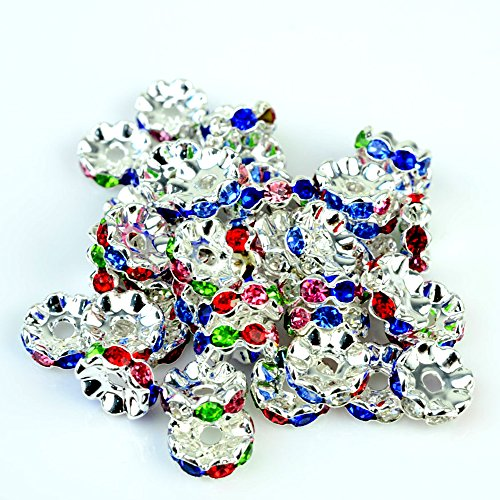 (RUBYCA Top Quality 100pcs 4mm Wavy Rondelle Spacer Beads Silver Tone Multi-Color Czech Crystal)