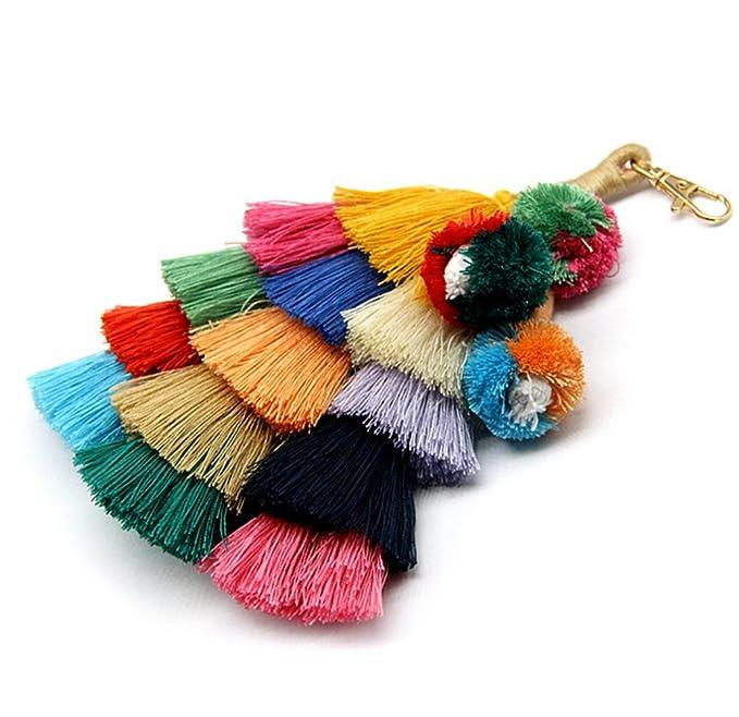Amazon.com: Colorido llavero con pompón de estilo bohemio ...