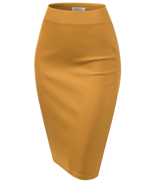 CLOVERY Women's High Waist Stretch Bodycon Pencil Skirt Turmeric 2XL Plus Size by CLOVERY