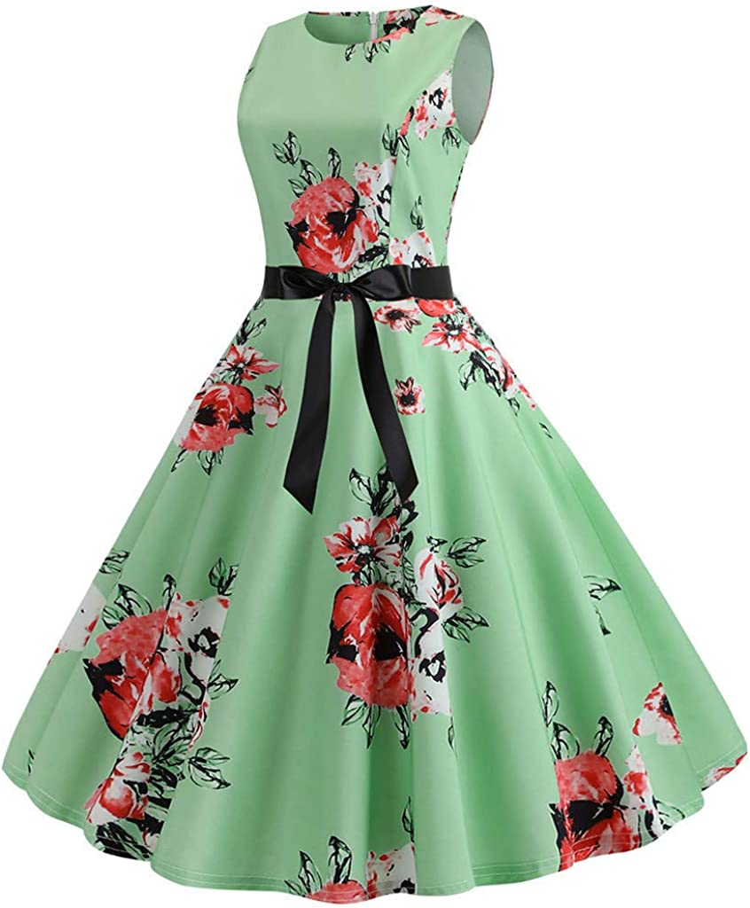 Vintage Dresses for Women,Women Vintage 1950s Retro Sleeveless O Neck Print Evening Party Prom Swing Dress