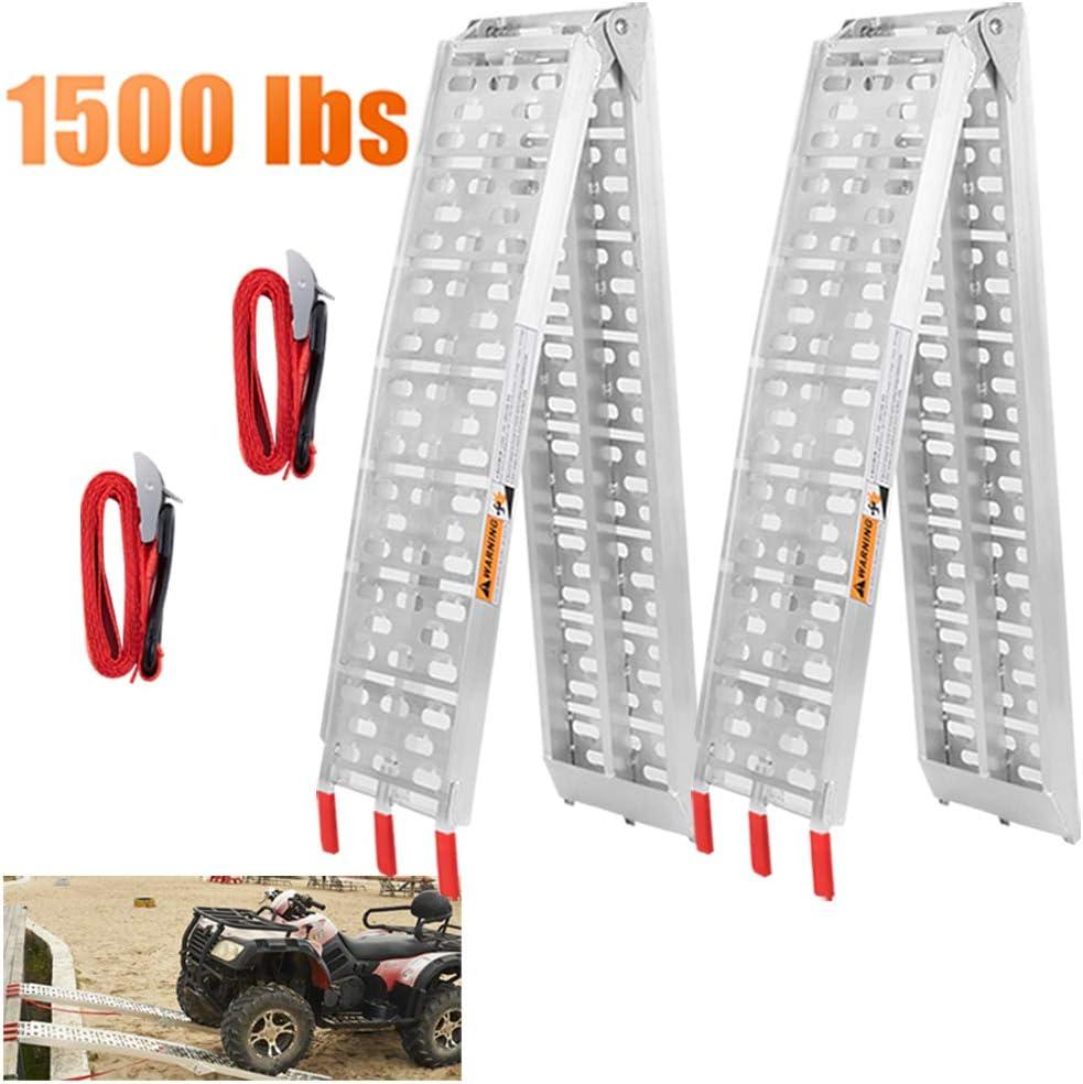VENDAV ATV Ramps for Pickup Trucks 7.5 FT Aluminum Portable Ramps 1500 Lbs Capacity,2PC.
