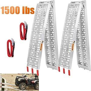 VENDAV Aluminum Folding Loading Ramps 1500 Lbs Capacity,2PCS 7.5FT Powersports Portable Loading Ramp for Trucks, Dirt Bike, Snowmobile,ATV,Pickup Trucks,Lawn Mower,4wheeler, Trailer.