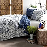 3 Piece Beautiful Navy Royal Blue White Full Queen Quilt Set, Stylish Contemporary Geometric Themed Reversible Bedding Bohemian Boho Chic Patchwork Stripe Patches Gorgeous Cottage Cabin Pretty, Cotton