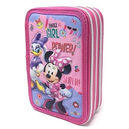 Disney Minnie Mouse Estuche 3 Zip Portapluma Triple Giotto ...