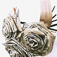 Book Paper Rose Bouquet Novel Flowers Literary Vintage Home Décor Christmas Anniversary Valentine's Day Gift For Wife Fiancée Book Lover Wedding Paper Flower Bouquets Handmade (Bunch of 5-6)