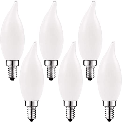 6 Pack Flame Tip Clear Glass E12 Base Dimmable Luxrite Vintage Candelabra LED Bulb 60W Equivalent Filament LED Candle Bulbs 550 Lumens LED Chandelier Light Bulbs 5W 2700K Warm White