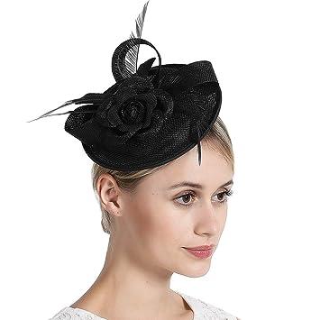 Deevoov Women Fascinators Hat Pillbox Feathers Derby Church Wool Fedora