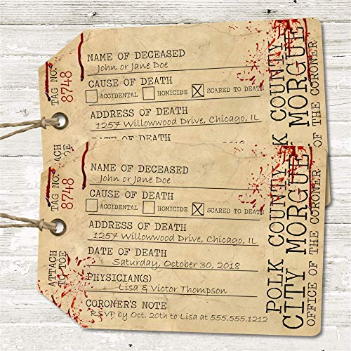 Toe Tag Halloween Invitations (Toe Tag Halloween Party Invitations With Envelopes, Scary Halloween Party)