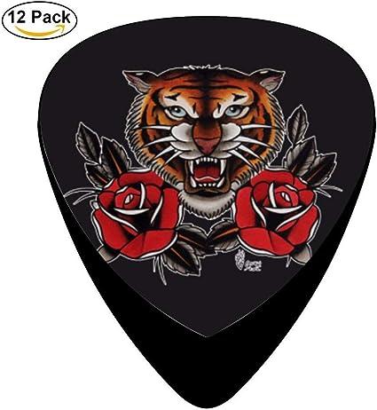 Púas de guitarra de celuloide con tatuaje de tigre: Amazon.es ...