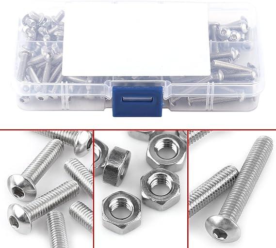 electrapick Schrauben Set 520stk Zylinderkopfschrauben 520stk M3 M4 M5 M6 Schrauben Mutter Unterlegscheiben mit Sechskantschl/üssel Set