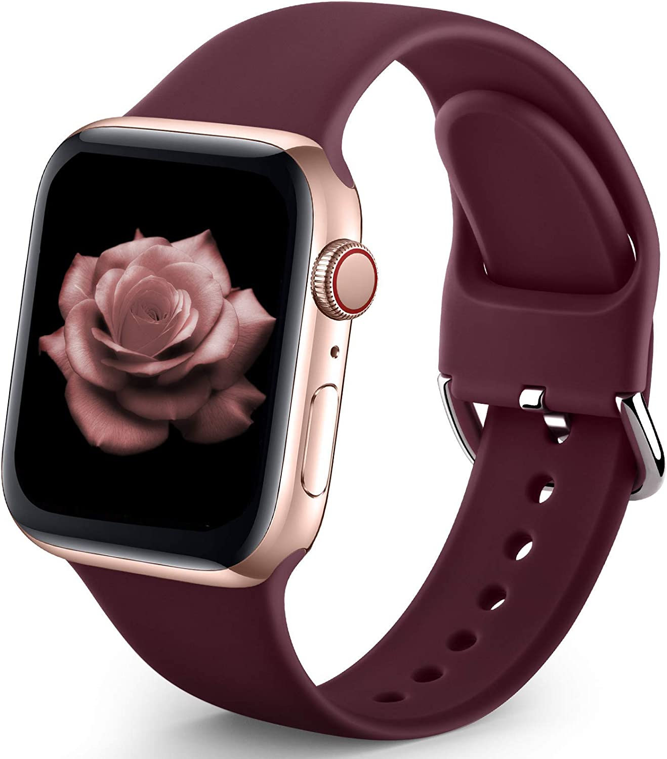 Sport Band Compatible with Apple Watch iWatch Bands 38mm 40mm for Women Men,Soft Silicone Strap Wristbands for Apple Watch Series 3 Series 6 Series 5 Series 4 Series 2 Series 1 Series SE,Burgundy