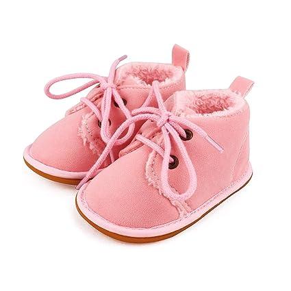 nuovo prodotto 2c3cb 70996 Lacofia Stivaletti invernali con suola in gomma per bambini scarpe primi  passi bimba rosa 3-6 mesi