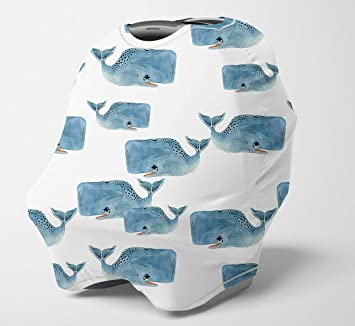 Nursing Cover Multi Use Breastfeeding Scarf Baby Car Seat Covers Carseat Canopy for Boys Whale Infant Stroller Cover