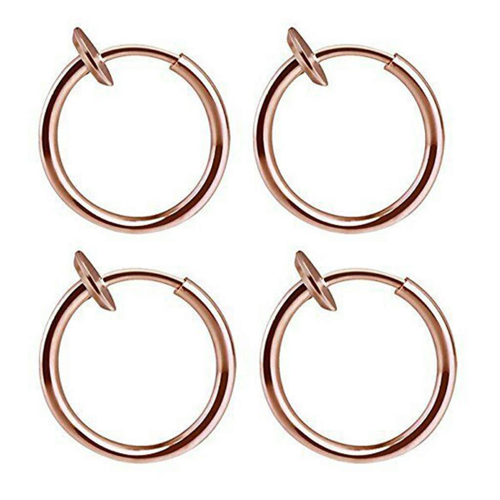 2 pair Retractable Earrings No Need Piercing Men Women Classic Hip-hop Hoop Earrings