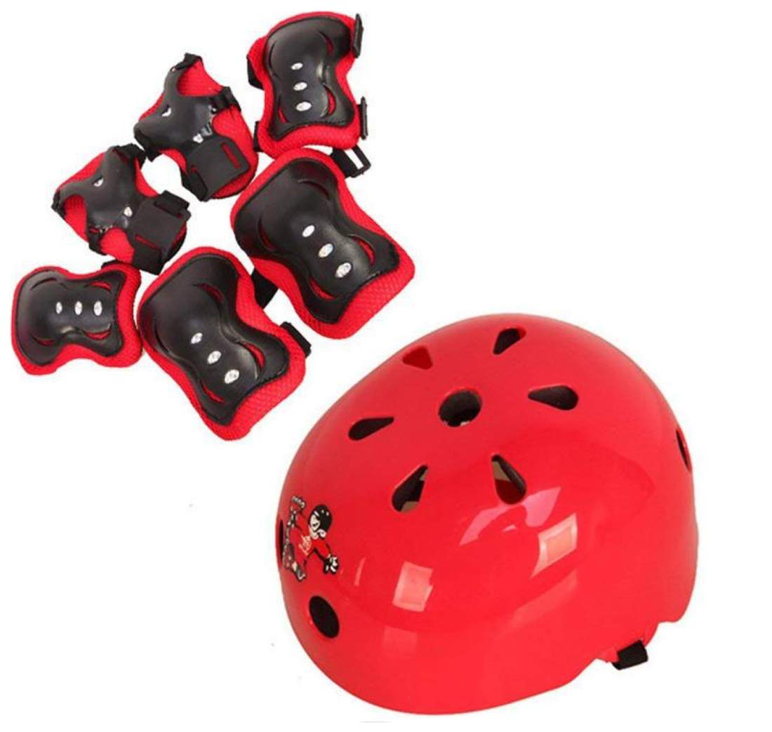 TUPWEL 1Set 7PCS Children Protective Safeguard Knee Elbow Helmet Wrist Gear Pads Roller Cover Support for Outdoor Sports Bike Cycling Skateboard Skating Skate 6-14 Years Old (M)