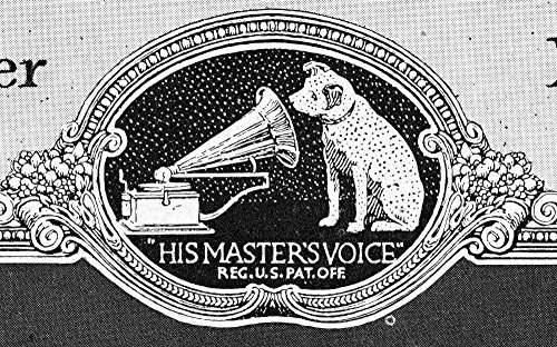 (Rca Victor Trademark 1922 NHis MasterS Voice An Early Version Of Rca VictorS Trademark Featuring Nipper The Dog From A Victor Talking Machine Company Phonograph Record Catalogue Of 1922 Poster Print b)