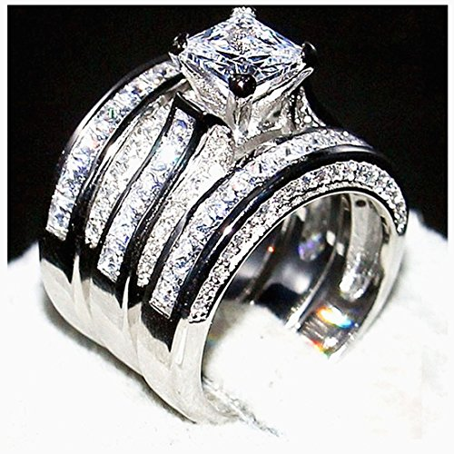 Classic Diamond Wedding Engagement Rings 925 Sterling Silver 6A Cubic-Zirconia Women Rings Set(9) (Designer Set Jewelry Topaz)