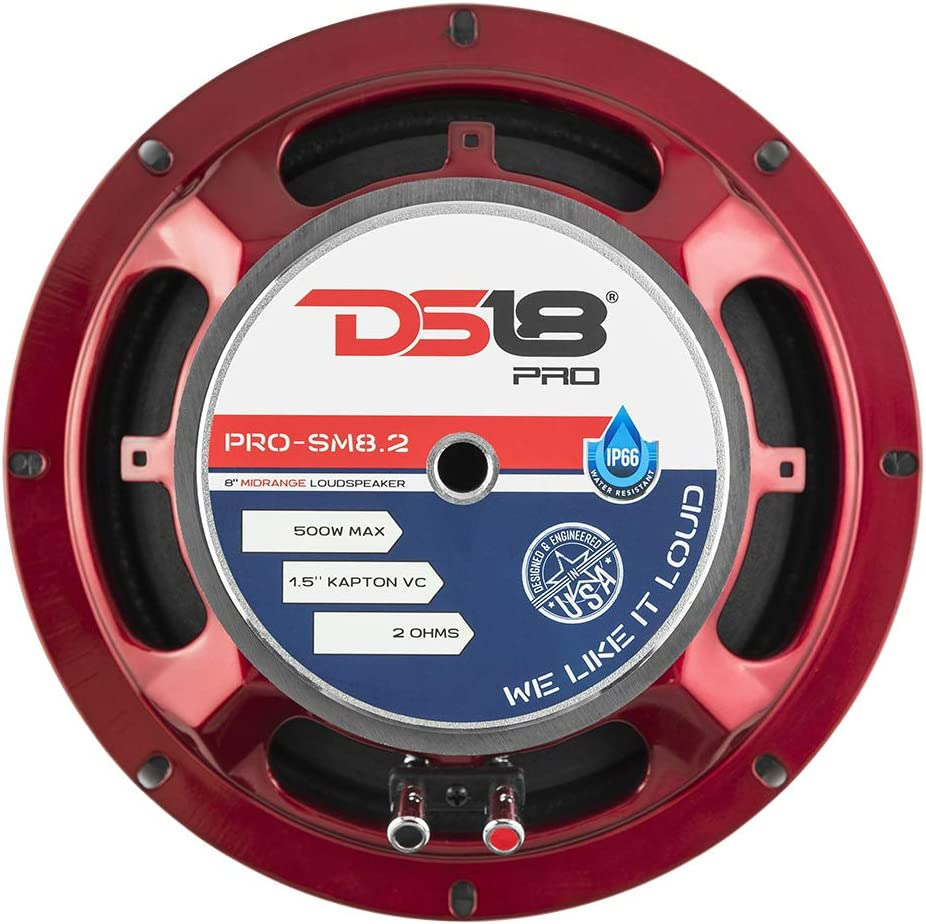 """2 Ohms 250W RMS Premium Quality Audio Speakers Midrange 500W Max Power 8/"""" Perfect for Motorcycle Applications IP66 Water Resistance DS18 PRO-SM8.2 8 Slim Loudspeaker Red Steel Basket"""