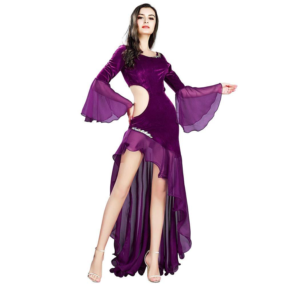 ROYAL SMEELA Belly Dance Costume for Women Dance Dresses for Women Long Sleeve Belly Dancing Outfit Chiffon Belly Dance Dress Purple by ROYAL SMEELA