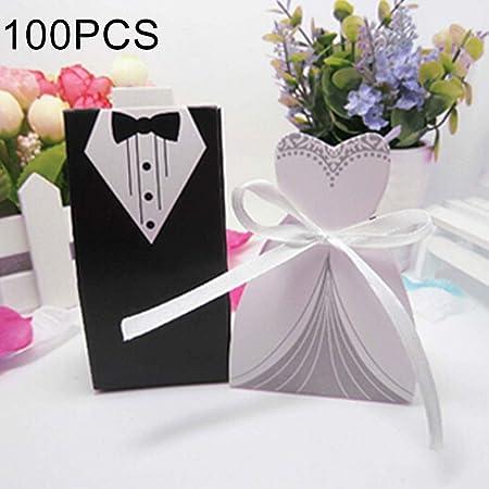 Caja de regalo exquisita 100 PCS Europea boda La novia y el novio de la caja de azúcar: Amazon.es: Hogar