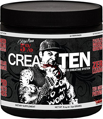 Rich Piana 5% Nutrition CreaTEN 10 Creatine System (Fruit Punch) 8.14oz (231 Grams) 30 Servings