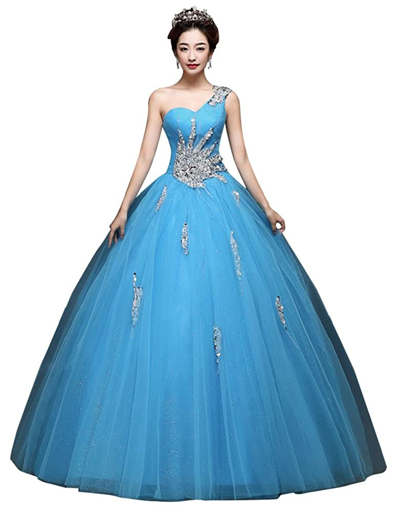 Baby bluee BeautyEmily One Shoulder Ball Gown Beads Sweet Quinceanera Dresses