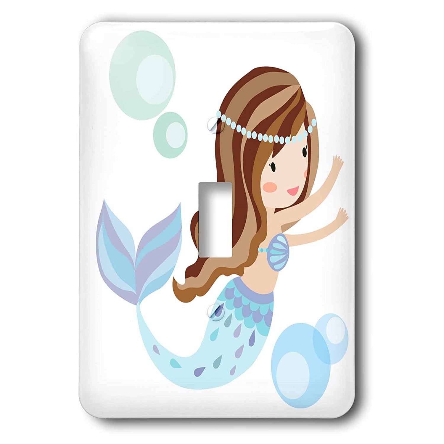 3dRose LSP/_254870/_1 Cute Dark Haired Mermaid in Blue Illustration Single Toggle Switch