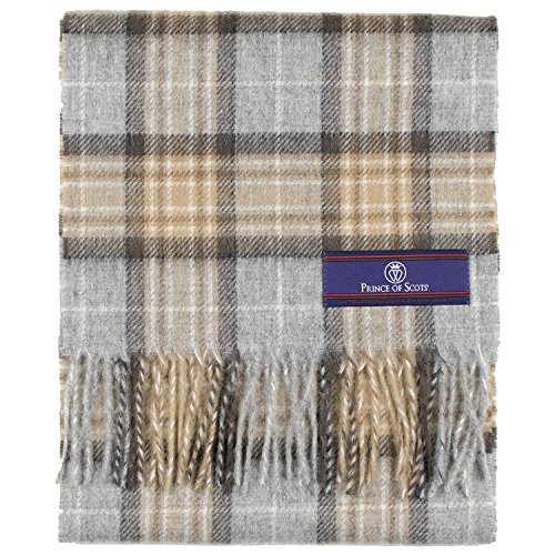 Prince of Scots Pure Merino Lambswool Tartan Scarf McKellar,Tan Plaid,One Size - Scottish Lambswool