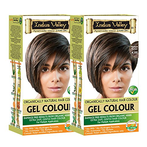 Indus Valley Permanent Herbal Hair Color Medium Brown 4.0- Twin (Removing Permanent Hair Color)