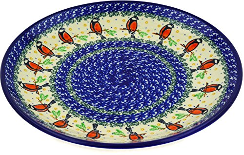 Polish Pottery Ceramic Plates (Polish Pottery Lunch Plate 10-inch Redbird On A Wire)