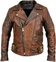 Vintage Leather Jacket - Brown Motorcycle Jacket for Men at Amazon