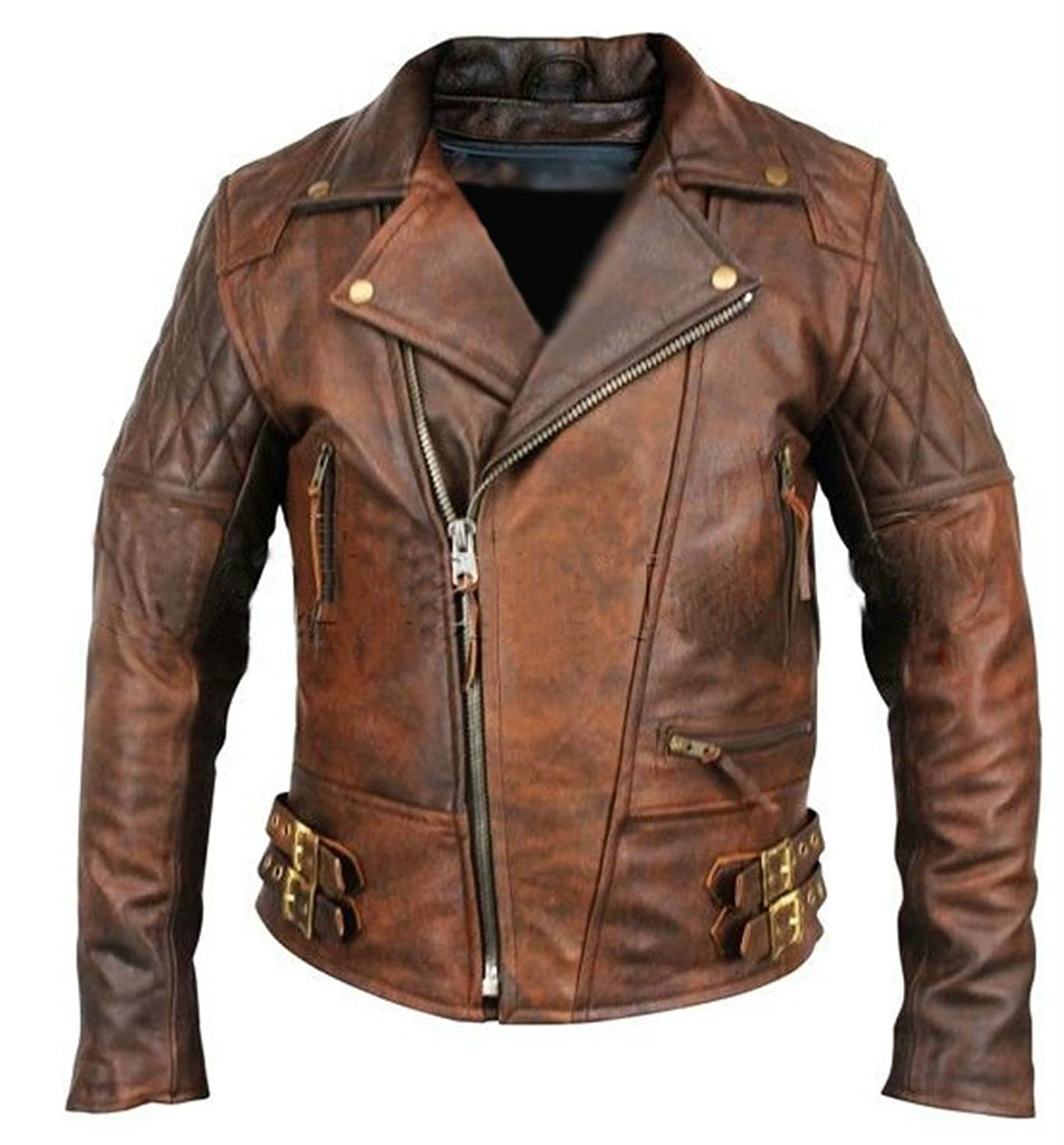 Leather Hub Men's Lambskin Vintage Distressed Brown Leather Biker ...