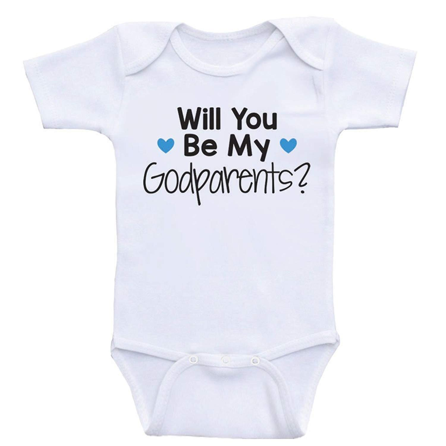 Promini Cute Baby Onesie Will You Be My Godparents Funny Bodysuits