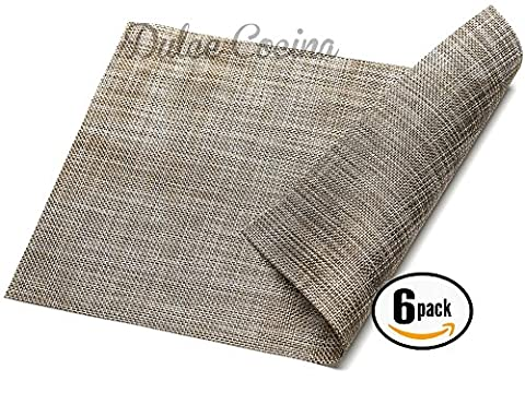 Dulce Cocina Placemats Tweed 6 Pack Natural Color - Light Green Bowl