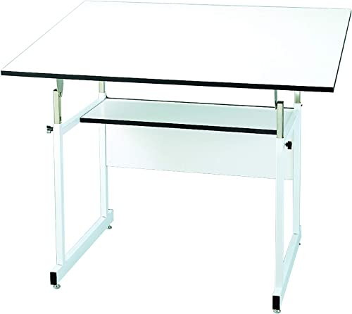 Alvin, WorkMaster Jr., WMJ48-4-XB, 4-Post Table, White Base with White Top – 36 x 48
