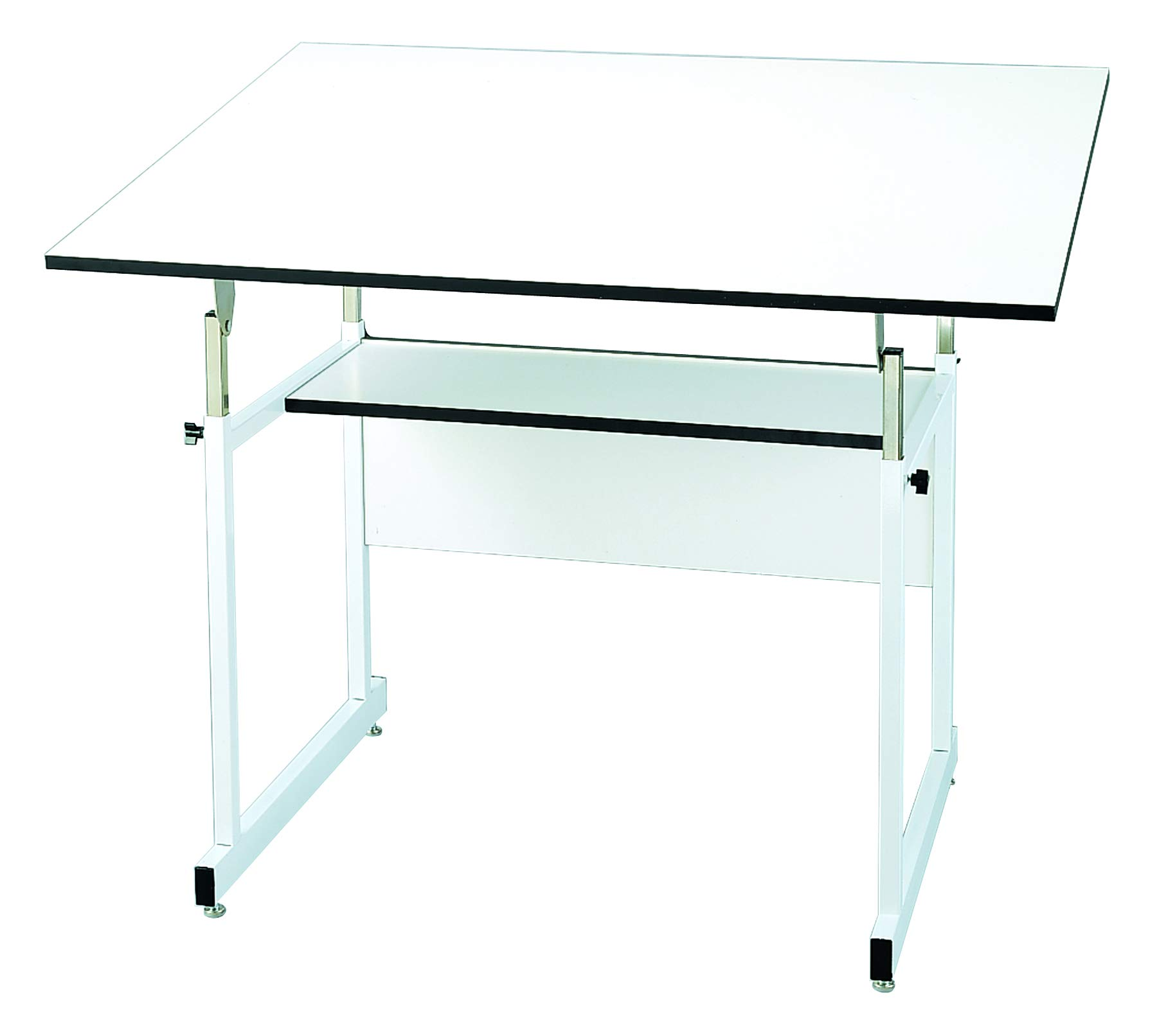 Alvin WMJ48-4-XB WorkMaster Jr. Table, White Steel Base/White Top 36'' x 48'', Warp-Free Melamine Board, Angle Adjusts from Horizontal 0° to 35°; Height Adjusts 29'' to 44'' in Horizontal Position by Alvin