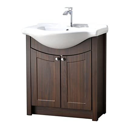 LifeSky LIF BC021 Modern Bathroom Vanity, Dark Walnut