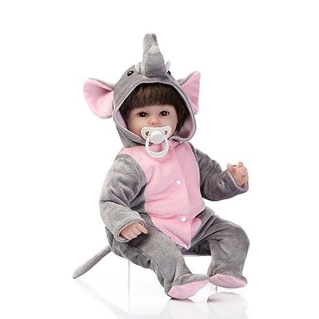 Decdeal - Reborn Muñeca Bebé NIña con Pijama de Elefante ...