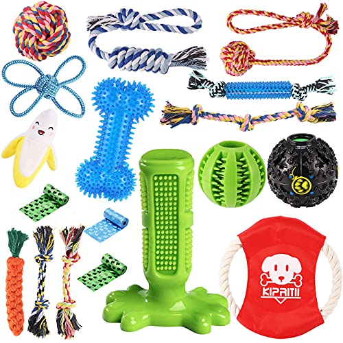 KIPRITII Dog Chew Toys for Puppy – 18 Pack Puppies Teething Chew Toys for Boredom, Pet Dog Toothbrush Chew Toys with Rope Toys, IQ Ball and More Squeaky Toy for Puppy and Small Dogs