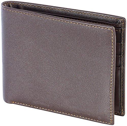 Carlo Milano Moderne Geldbeutel: klassischer Geldbeutel mit Echtleder überzogen, braun (Ledergeldbörse)