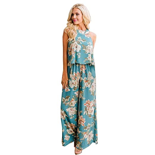 bf76cba94903 Amazon.com  Handyulong Women Jumpsuits Casual Floral Print Crop Cami Wide  Leg Long Pants Beach Playsuit Rompers for Teen Girls  Clothing
