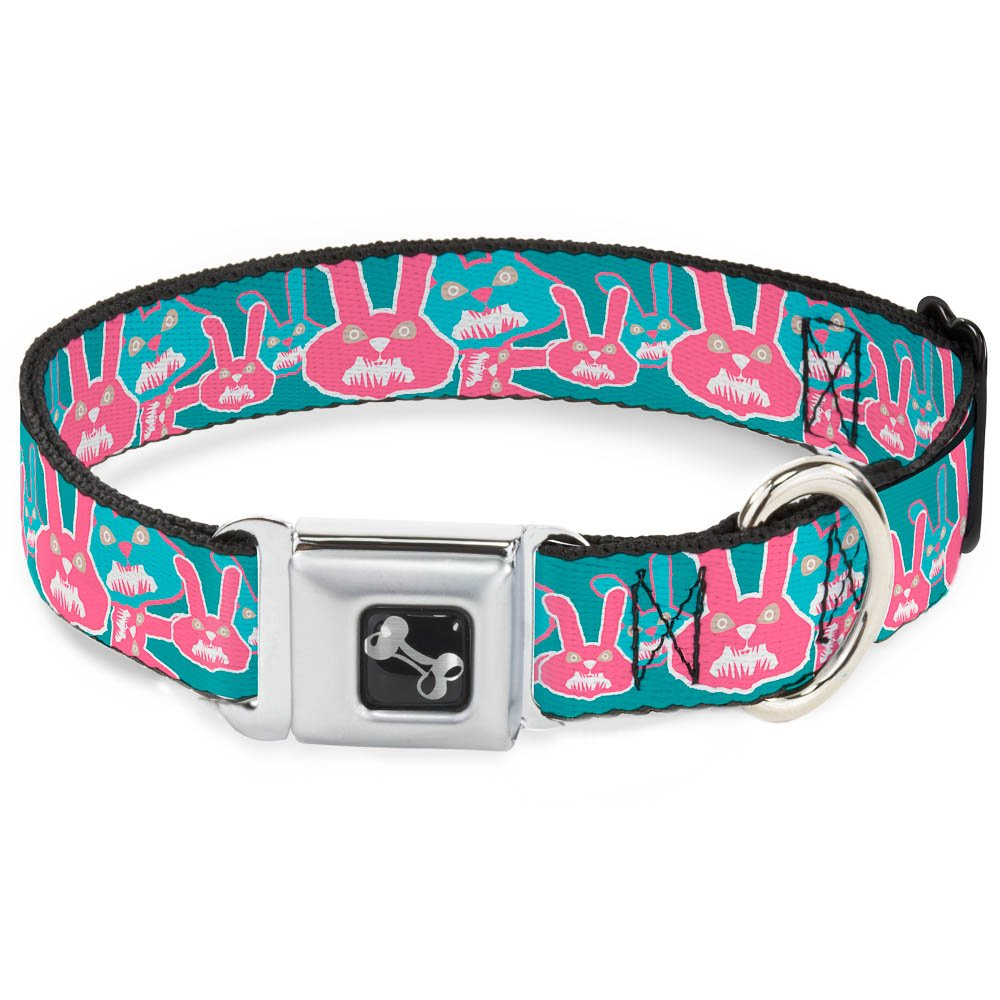 Buckle-Down Angry Bunnies Turquoise Pinks Dog Collar Bone, Wide Small 13-18