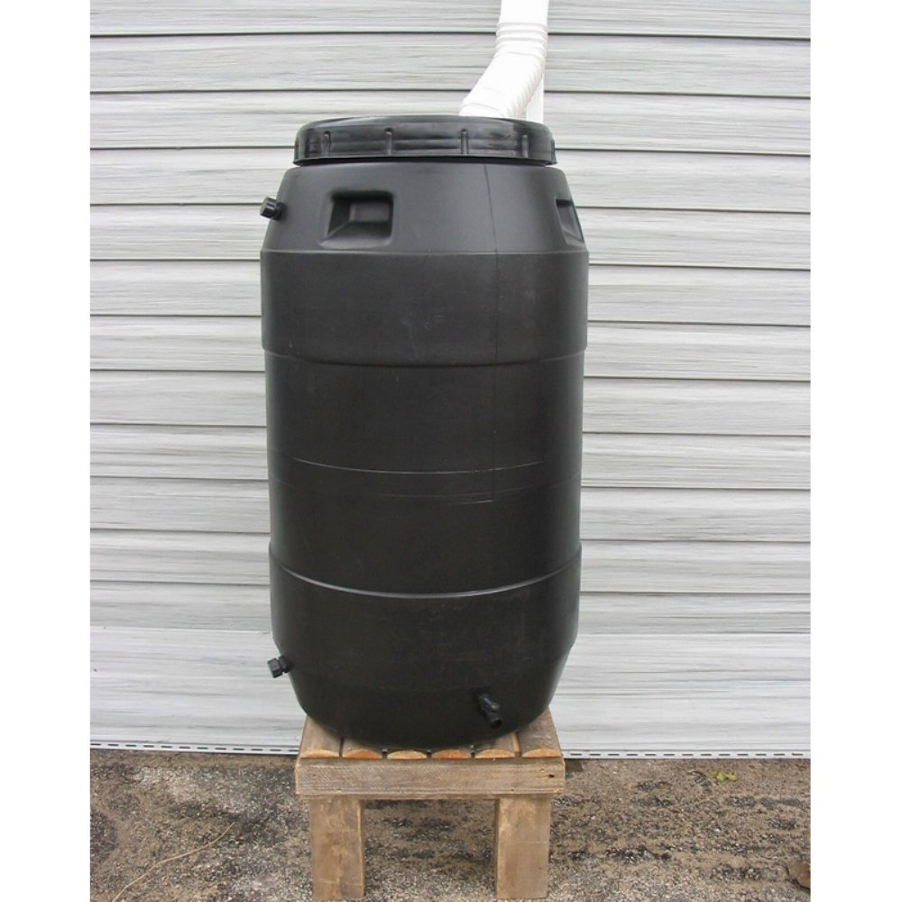 Upcycle 55 Gallon Black Rain Barrel by Upcycle