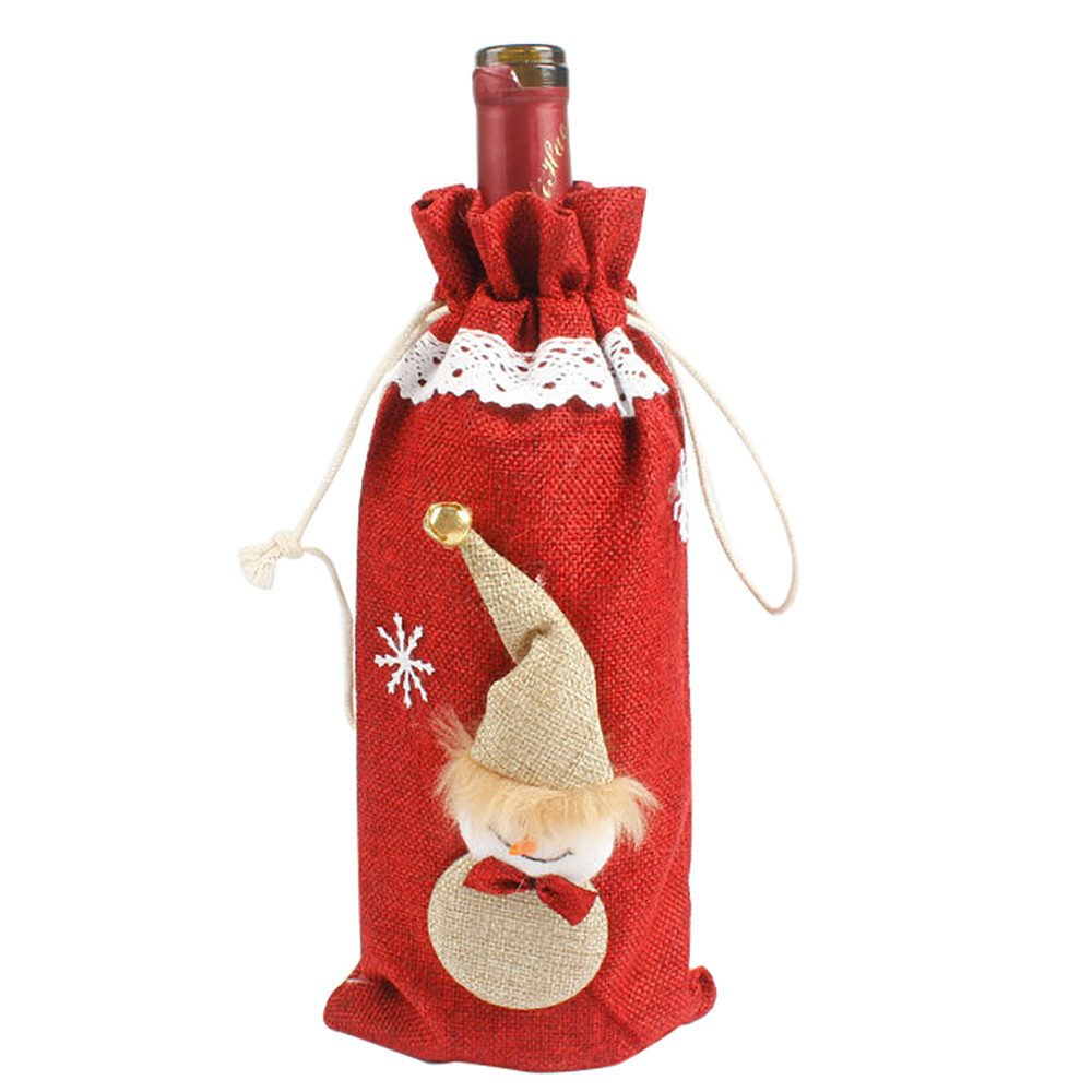 Willsa Red Wine Bottle Cover Bags Decoration Home Party Santa Claus Christmas